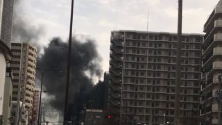 大阪城公園駅の近くで火事。原因や出火元は工場?「京橋駅付近で黒煙が」「ゴミ処理場っぽいな」